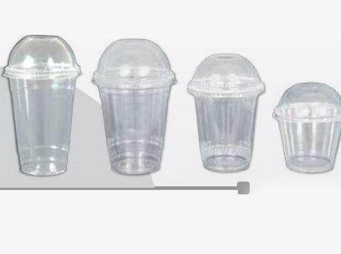 Vasos PET Transparentes Con Tapa Domo