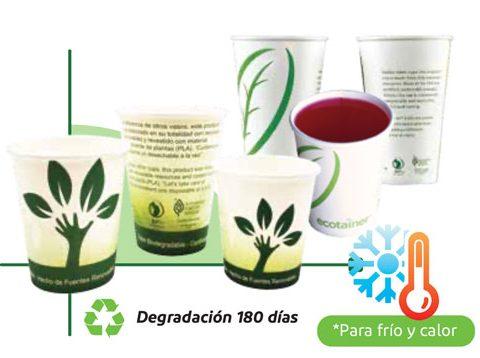 Vasos Con ácido Poliláctico (PLA) Y Papel